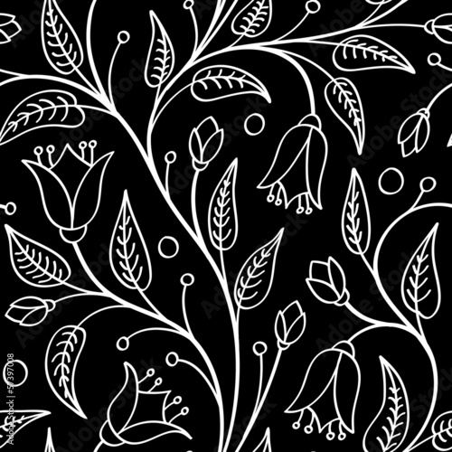 Deurstickers Bloemen zwart wit Seamless floral pattern with bellflowers, white on black