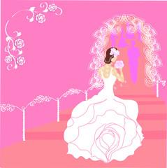 Invitation card with bride. Vector.