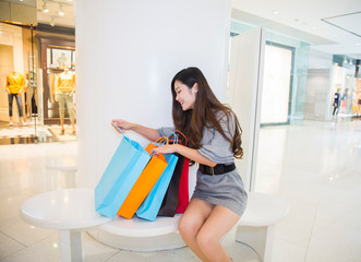 young woman shopping in mall