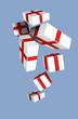 Постер, плакат: Подарочные коробки падают сверху Голубой фон Вектор
