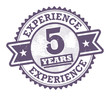 Stamp with the text 5 Years Experience written inside, vector
