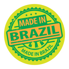 Stamp with the text Made in Brazil written inside, vector