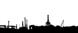 Vector silhouette of panoram of port