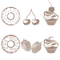 Desserts and fruit icon set - Illustration