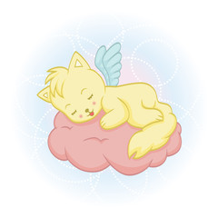 Cute sleeping angel-cat