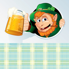 Happy St. Patrick's Day Card with Drunk Leprechaun
