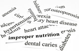 Health care concept of diseases caused by unhealthy nutrition poster