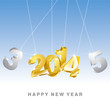 Happy New Year 3D gold 2014 vector