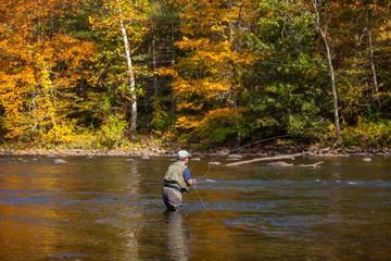 Angler im Fluss