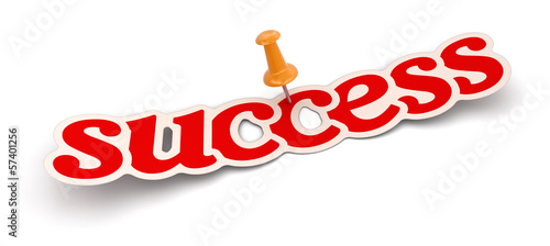 Push Pin and success (clipping path included)