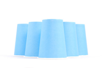 blue recycling paper glasses on white background