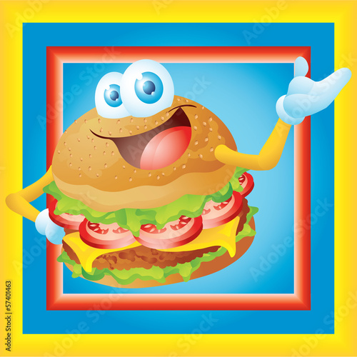 hamburger cartoon with frame