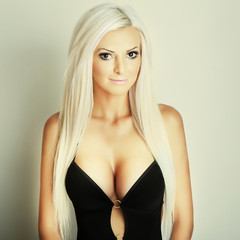 blonde girl portrait with big breasts