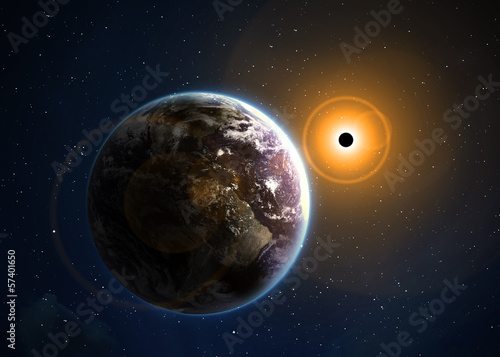 Eclipse of the sun. Elements of this image furnished by NASA