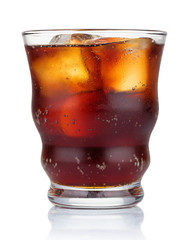 Glass of cola with ice ice cubes isolated on white