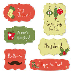 Christmas vintage labels with decoration