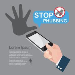 Stop Phubbing, infographics vector.