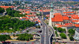 Auto junction and day traffic in Bratislava, Slovakia