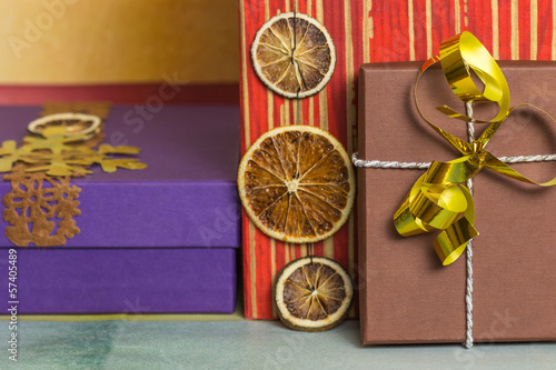 Brown present box on Christmas