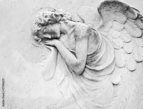 Papiers peints Statue sleeping angel - antique decoration on tomb