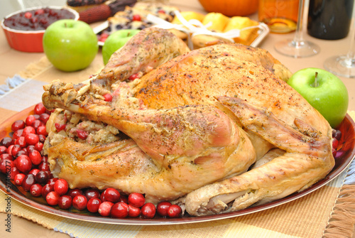 Cooked Whole Turkey with Cranberries