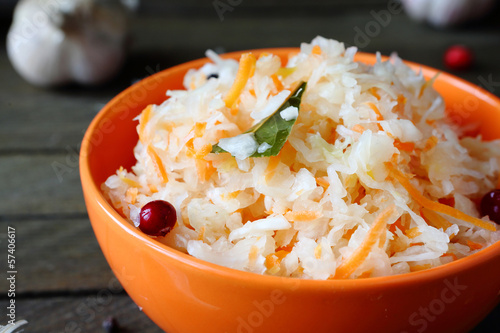 delicious sauerkraut with garlic and cranberries