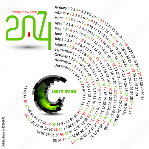 new year 2014 circle calendar design
