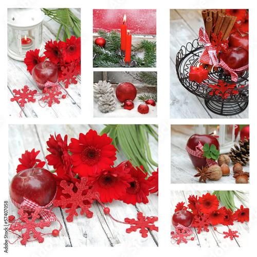 Fotobehang Weihnachtliche Collage mit Blumen