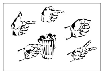 Vector set of hands and gestures, the hand with a glass of beer