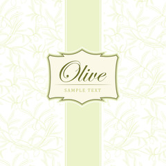 Vector olive oil.For label, pack. Olive pattern.