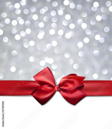 Greeting card with red bow.