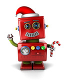 Santa Claus robot with candy cane