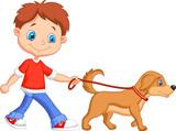 Fototapety Cute boy walking with dog