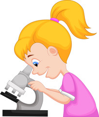 Young girl using microscope