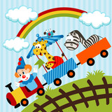 clown and animals traveling train - vector illustration