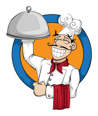 Chef with a huge plate of food logo