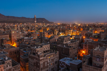 Panorama of Sanaa at night, Yemen