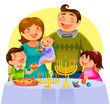family celebrationg Hanukkah