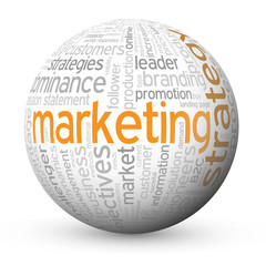 """MARKETING STRATEGY"" Tag Cloud Globe (advertising e-mail online)"