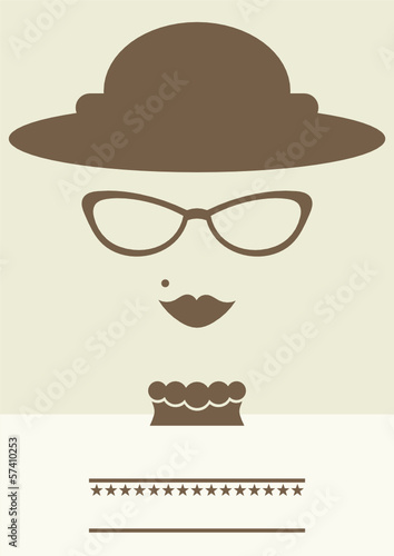 retro poster of a lady with glasses and hat