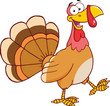Happy Turkey Cartoon Mascot Character Walking