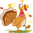 Happy Turkey Cartoon Character Walking
