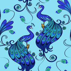 Seamless pattern of peacocks