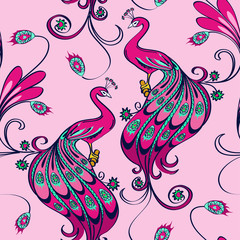 Seamless pattern of peacocks