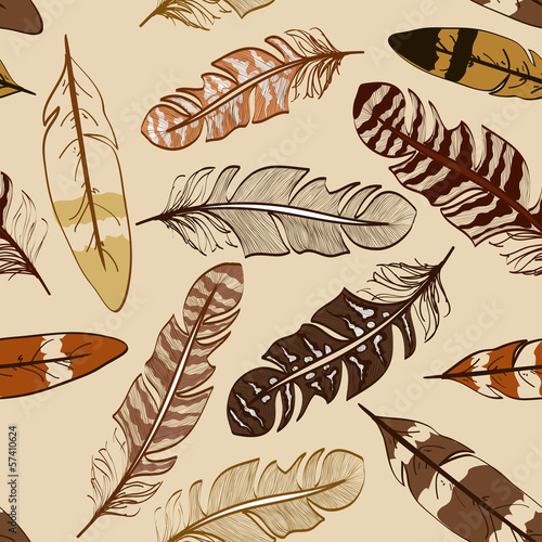 Seamless pattern of bird feathers - 57410624