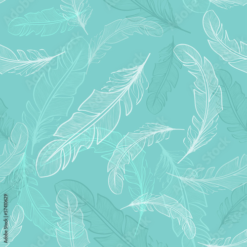 Seamless pattern of bird feathers