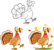 Happy Turkey Cartoon Character Walking. Collection Set