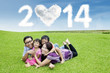 Cheerful family enjoying new year holiday