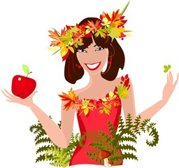 Beautiful smiling girl with autumn leaves and apple