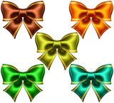 Festive bows with golden edging